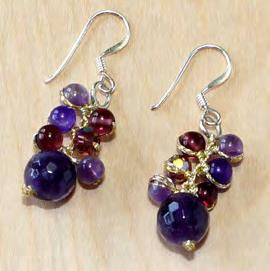 Amethyst and jade drop earrings