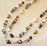 Brown mix large oval with small pearl cluster necklace