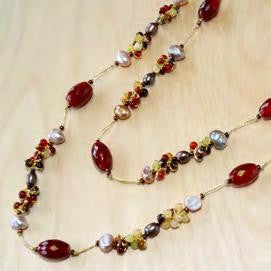 Carnelian mix large oval with small pearl cluster necklace