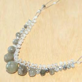 Jade, labradorite with agate and FWP graduated necklace