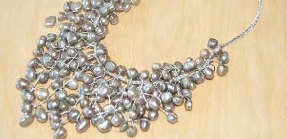 Gray pearl Bib Statement Necklace