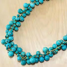 N0832/TQ- Turquoise with crystal cluster necklace