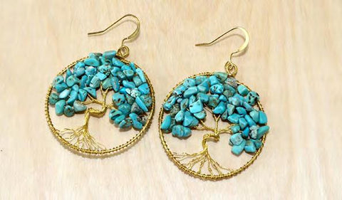 Gold and Turquoise Tree of Life Earrings