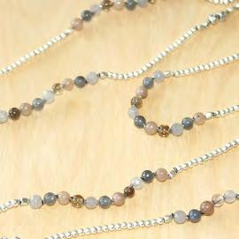 Elegant Layering Necklace with Brass, Pink Agate & Labradorite