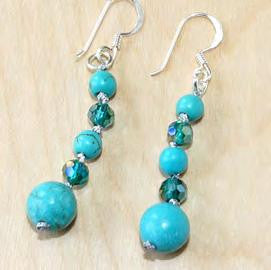 Turquoise and blue crystal earrings