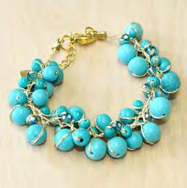 Turquoise Cluster Bracelet with Crystal Accents