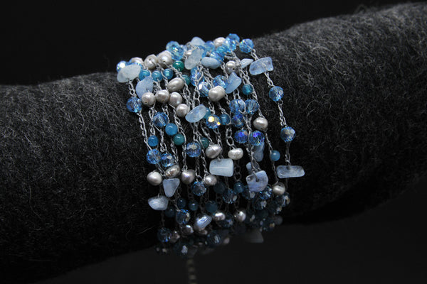 Blue Gray Pearl Bracelet with Crystal Accents