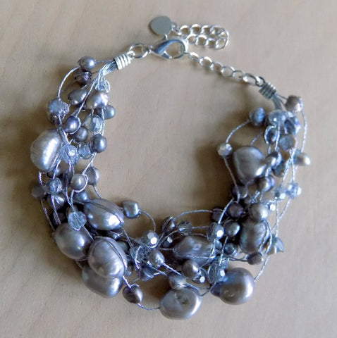 Gray pearls w crystals bracelet
