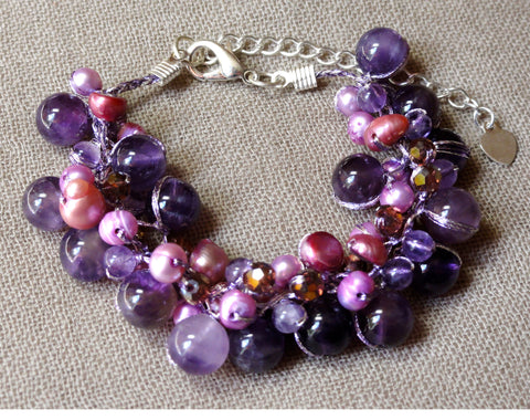 Amethyst Bracelet w/ Pearl and Crystal Accents
