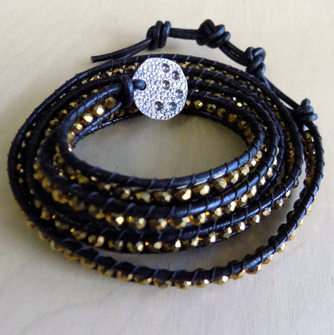 Gold crystal w/ brown cord wrap bracelet