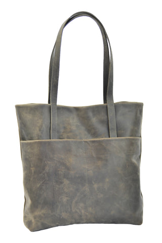 Black Leather Studio Tote Bag - Natural Gray - Allow 4-5 weeks for delivery