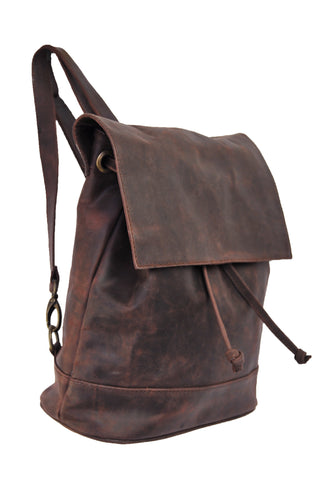 Convertible Black Leather Backpack - Natural Oxblood -Allow 4-5 weeks for delivery