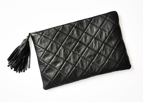 Turin Grid Clutch - Soft Black - Allow 4-5 weeks for delivery