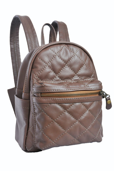 Turin Grid Backpack - Small - Soft Chocolate Brown - Allow 4-5 weeks for delivery