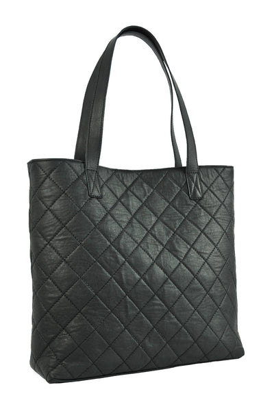 Turin Grid Tote - Soft black - Allow 4-5 weeks for delivery