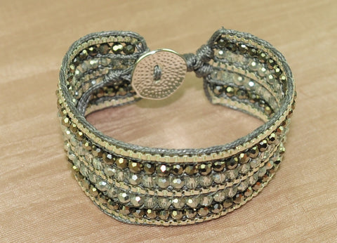 Cuff bracelet w crystal and chain - Silver