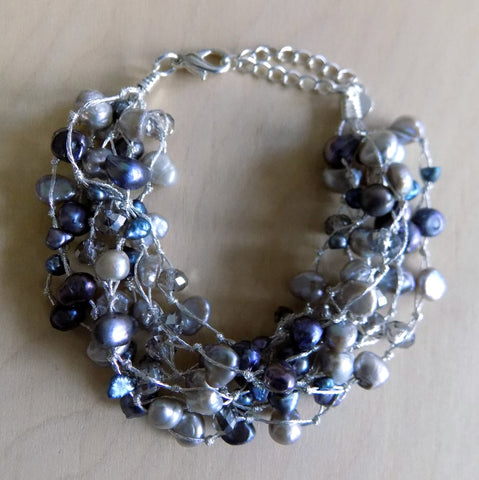 Gray Pearl And Crystal Chunky Bracelet