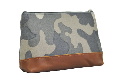 Camo Cosmetic Pouch w Leather