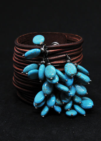 Chunky Leather Bracelet with Dangling Turquoise Accents