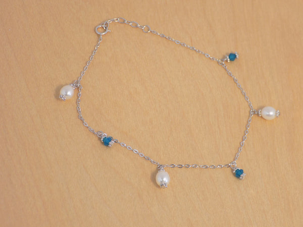6 mm CLW peal w/ caribbean blue swarovski anklet