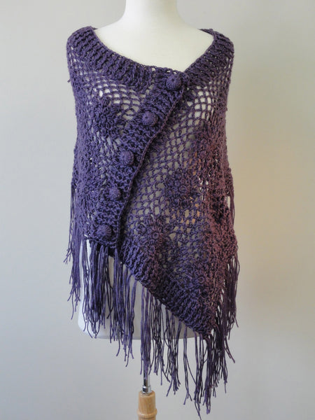 Crochet Button Shawl in Plum