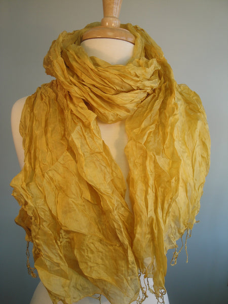 Crinkled Silk Scarves - brass