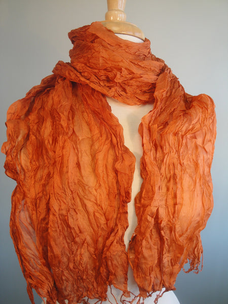 Crinkled silk scarf - celosia orange