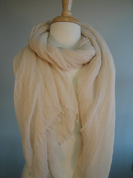 Double open weave shawl - Whisper White