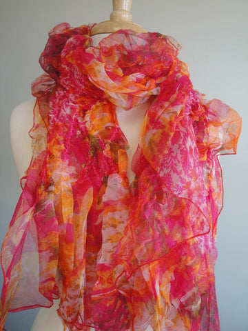 Crushed Silk Scarves in Tropical Red