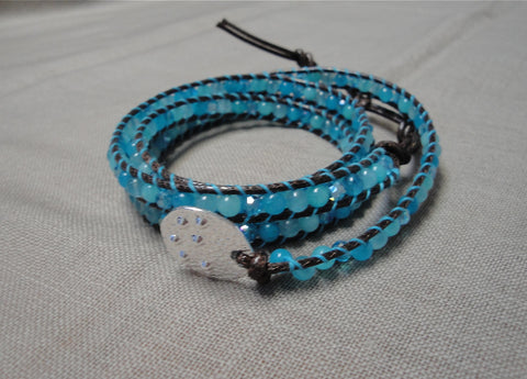 Brown and Blue Wrap Bracelet w/ Amazonite, Jade and Crystal