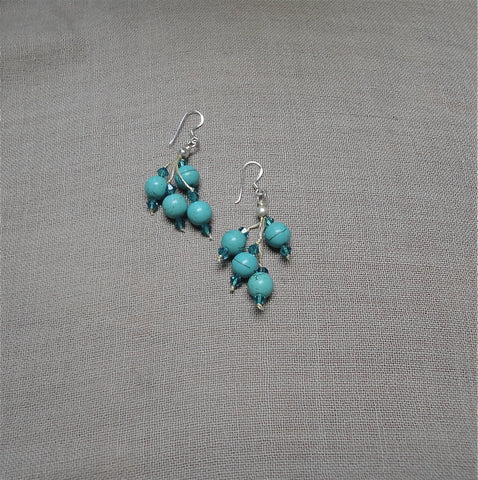 Large turquoise cluster with crystal drop earring