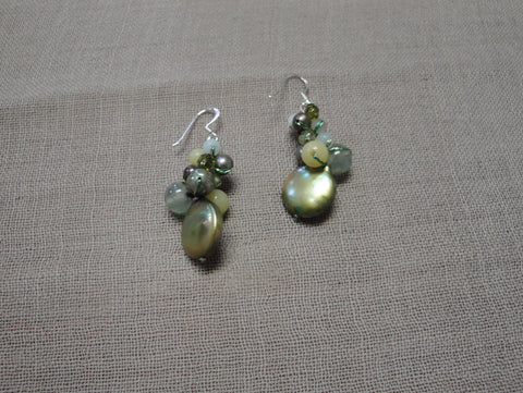 Green Coin Pearl Drop Earrings with Semi-Precious Stones