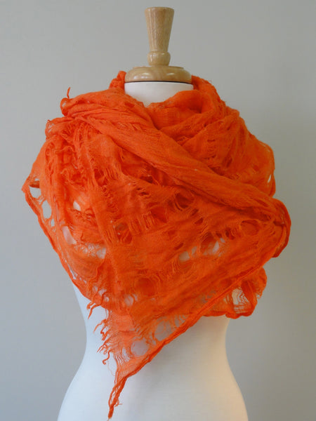 Windowpane Scarf in Orange