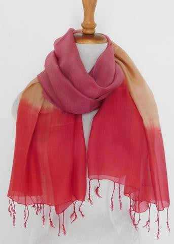 Silk Tricolor Scarf - Fall Red