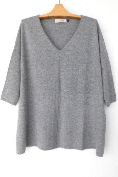 "Cashmere w merino ""V"" Tee - Light Gray"