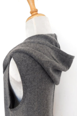 Cashmere Merino Knit Long Hoodie Vest - Dark Gray