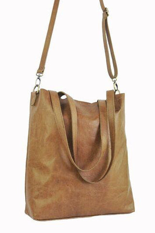 Vert Tote w Shoulder Strap - Soft Light Brown - Allow 4-5 weeks for delivery