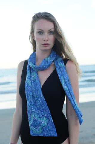 Avalon Super Narrow Viscose Scarf - Blue