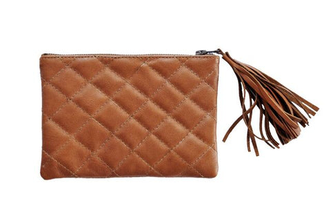 Turin Grid Clutch - Mini - Soft Light Brown - Allow 4-5 weeks for delivery