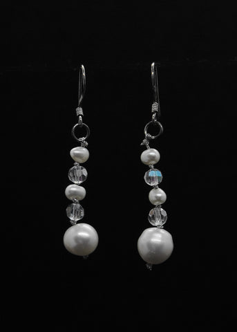 White Pearl Pendant Drop Earrings