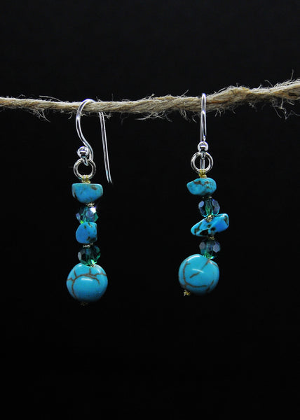 Turquoise and crystal earrings