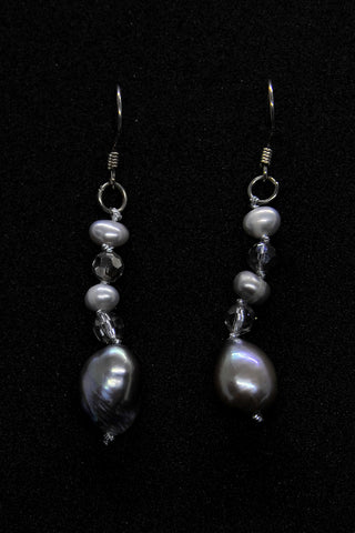 Oval Gray Pearl Dangle Earrings with Crystal Accents
