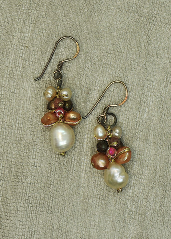 Mixed Pink Pearl Earrings With Rose Bead Accents