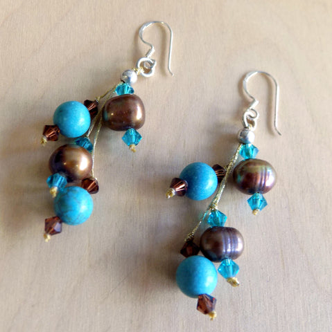 Large turquoise + brown w crystal drop Earrings