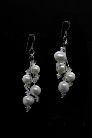 Large white pearl cluster drop earring