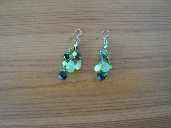 Jade with crystal drop earring