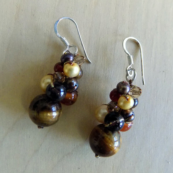 Tiger eye, carnelian, smoky quartz, freshwater pearl drop earrings