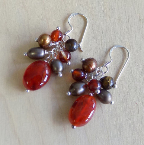 Smoky quartz, brown agate with pearl drop earrings