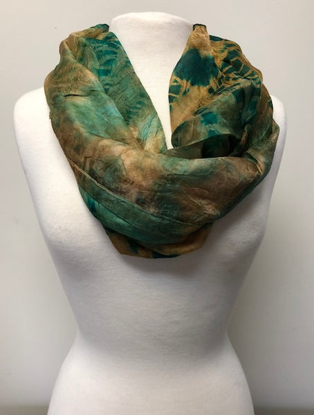 Narrow Silk Watercolor Infinity - Calypso Green