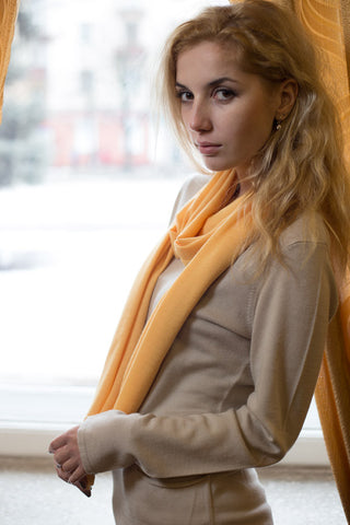 Cashmere Knit Scarf - Amber Yellow